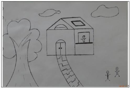 房子简笔画图片大全 大树